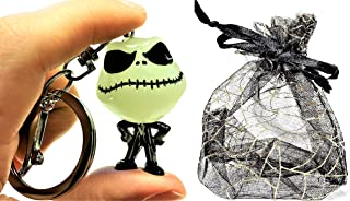 "Halloween 3D Cute Glow-In-The-Dark Jack Skellington Keychain - The Nightmare Before Set - 1.5"" X 1.25"" Figure - Party Favors, Trick-or-Treat Handouts, Candy Alternatives,"