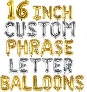 Silver & Gold Letter Balloons - Custom Balloon Letters for Birthday/Baby Shower - Personalized a Phrase/Word/Banner/Name Balloons - 16 inch Alphabet Foil Mylar Letter Balloons