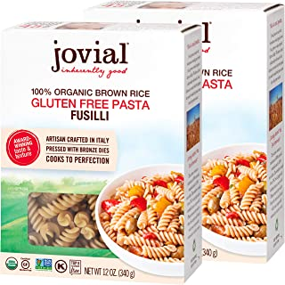 Jovial Fusilli Gluten-Free Pasta | Whole Grain Brown Rice Fusilli Pasta | Non-GMO | Lower Carb | Kosher | USDA Certified O...