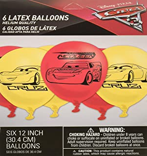 Amscan Cars 3 Latex Balloons, Assorted, 6 Pieces