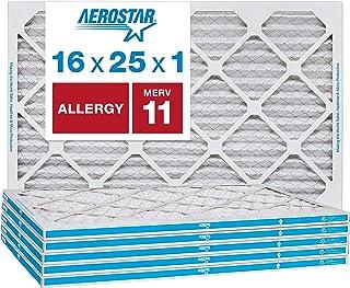 Aerostar Allergen & Pet Dander 16x25x1 MERV 11 Pleated Air Filter, Made in the USA, 6-Pack