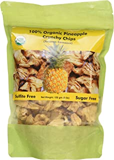 Indus Organics Pineapple Dried Crunchy Chips, 5 Oz Bag, Sulfite Free, No Added Sugar, Freshly Packed