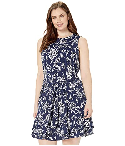 MICHAEL Michael Kors Plus Size Petani Ruffle Tank Dress (True Navy) Women