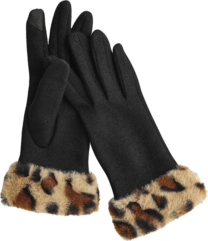 Mud Pie womens Leopard Cuff Glove