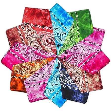 Vivibel Bandana 100% cotone, 12 cachemire, 55 x 55 cm, foulard per braccia, colori misti, per il collo, per la testa, foulard di Nickituch quadrato