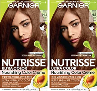 Garnier Nutrisse Ultra Color Nourishing Permanent Hair Color Cream, HL1 Rich Toffee (Pack of 2) Brown Hair Dye