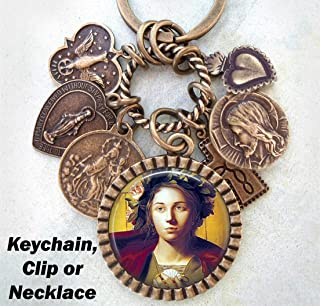 St. Bona of Pisa Necklace, Keychain or Purse Clip, Patron Saint of Pilgrims, Couriers and Travelers, Catholic Jewelry, Confirmation Gift
