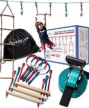 Ninja Warrior Training Equipment Kids 50' Feet | W/ Ladder | The Perfect Outdoor Ninja Line Hanging Obstacle Course | Ninja Warrior Obstacle Kit