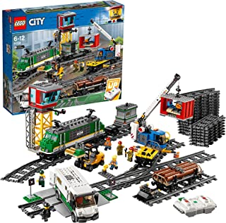LEGO City Cargo Train 60198 Remote Control Train Building Set with Tracks for Kids, Top Present and Christmas Gift for Boys and Girls