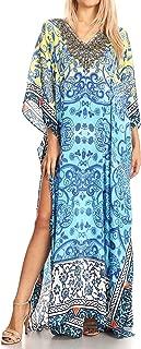 Sakkas Anahi Flowy Design V Neck Long Caftan Dress/Cover Up with Rhinestone