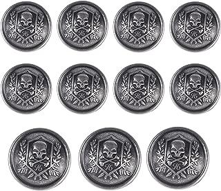 11 Pieces Silver Vintage Metal Blazer Button Set - Skull - For Blazer, Suits, Sport Coat, Uniform, Jacket