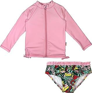 SwimZip Girl`s 2 Piece Long Sleeve Rash Guard Swimsuit UPF 50+ (Multiple Colors)