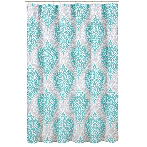 Comfort Spaces Coco Shower Curtain Teal And Grey Printed Damask Pattern 72x72