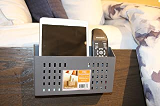 ClipandKeep Bedside Caddy, Bedside Organizer,TV remotes Caddy,Cell Phone Holder (Gray)