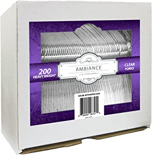 Crystalware, Heavy-Weight Clear Plastic Forks, Durable, Disposable, 200/box