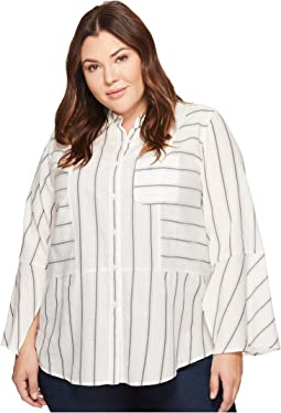 Plus Size Bell Sleeve Yarn-Dye Stripe Collared Shirt