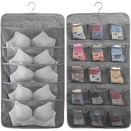 MaoXinTek Organizer Armadio da Appendere Bifacciale Deposito di Biancheria con 20 Tasche per Reggiseni Biancheria Intima e Calzini, Organizzatore Pensile Risparmio Spazio Guardaroba, Grigio