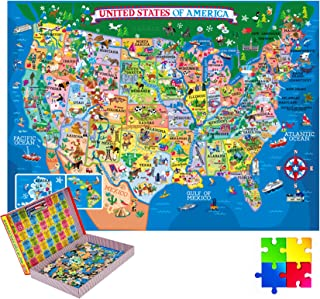 200 Pieces USA Map Jigsaw Puzzles Jumbo Learning & Education Toys, Floor Puzzles Great Gift for Kids Educational Intellect...