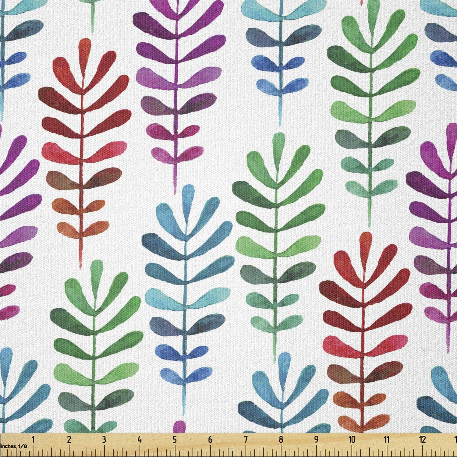 Ambesonne Gorgeous Botanical Fabric by The Yard F Colorful Special price Meadow Leaves