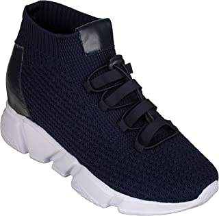 CALTO Men's Invisible Height Increasing Elevator Shoes - Kintted Ultra Lightweight Slip-on Sporty Trainer Sneakers - 3.2 Inches Taller