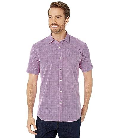 BUGATCHI Short Sleeve Button Up Shirt (Ruby) Men