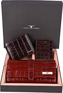 Urban Forest Demi RFID Blocking Croco Print Dark Red Ladies Wallet, Brown Men's Wallet & Brown Card Case Combo Gift Pack for Family