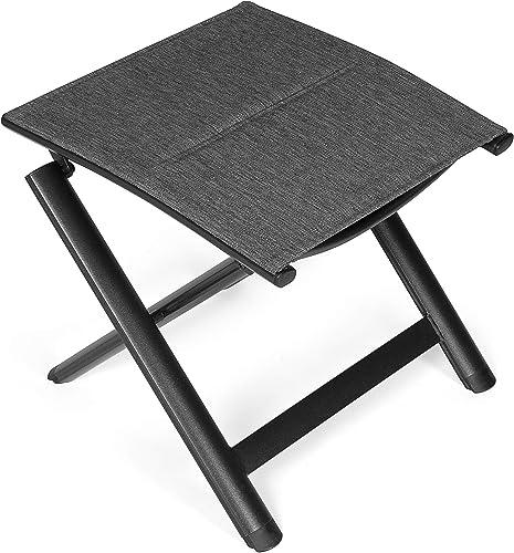 Vanage - Tabouret / Repose-pied en Aluminium - Surface textile rembourrée - Pliable et ultra compact - Parfait pour C...