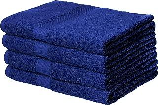 AmazonBasics Fade-Resistant Cotton Bath Towel - Pack of 4, Navy Blue