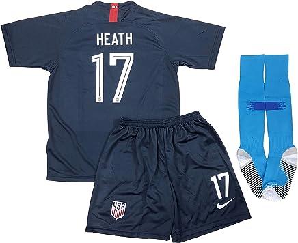 bd8b71c1545 New 2019 Tobin Heath  17 USA National Team Away Soccer Jersey Shorts    Socks for