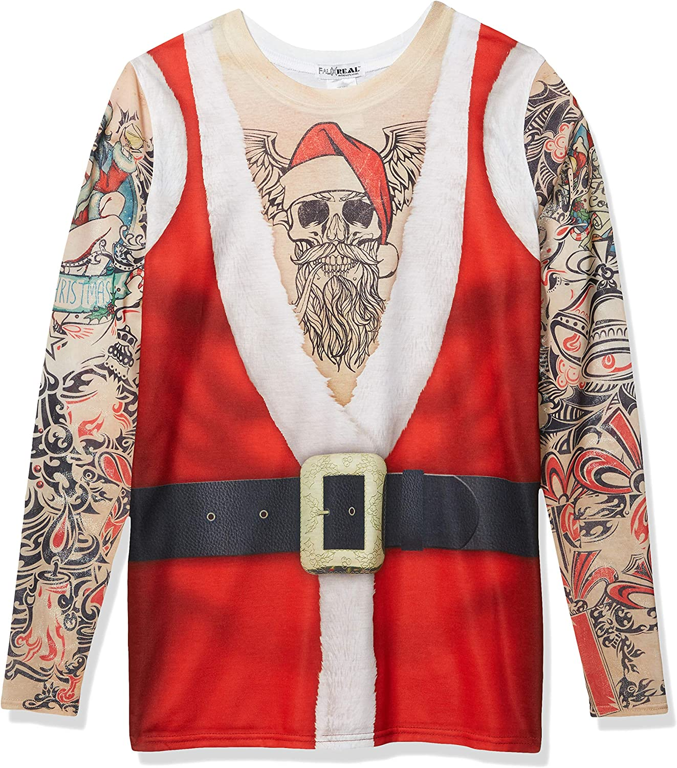 Faux Real Men's Christmas 3D Photo-Realistic Big and Tall Long Sleeve Tee