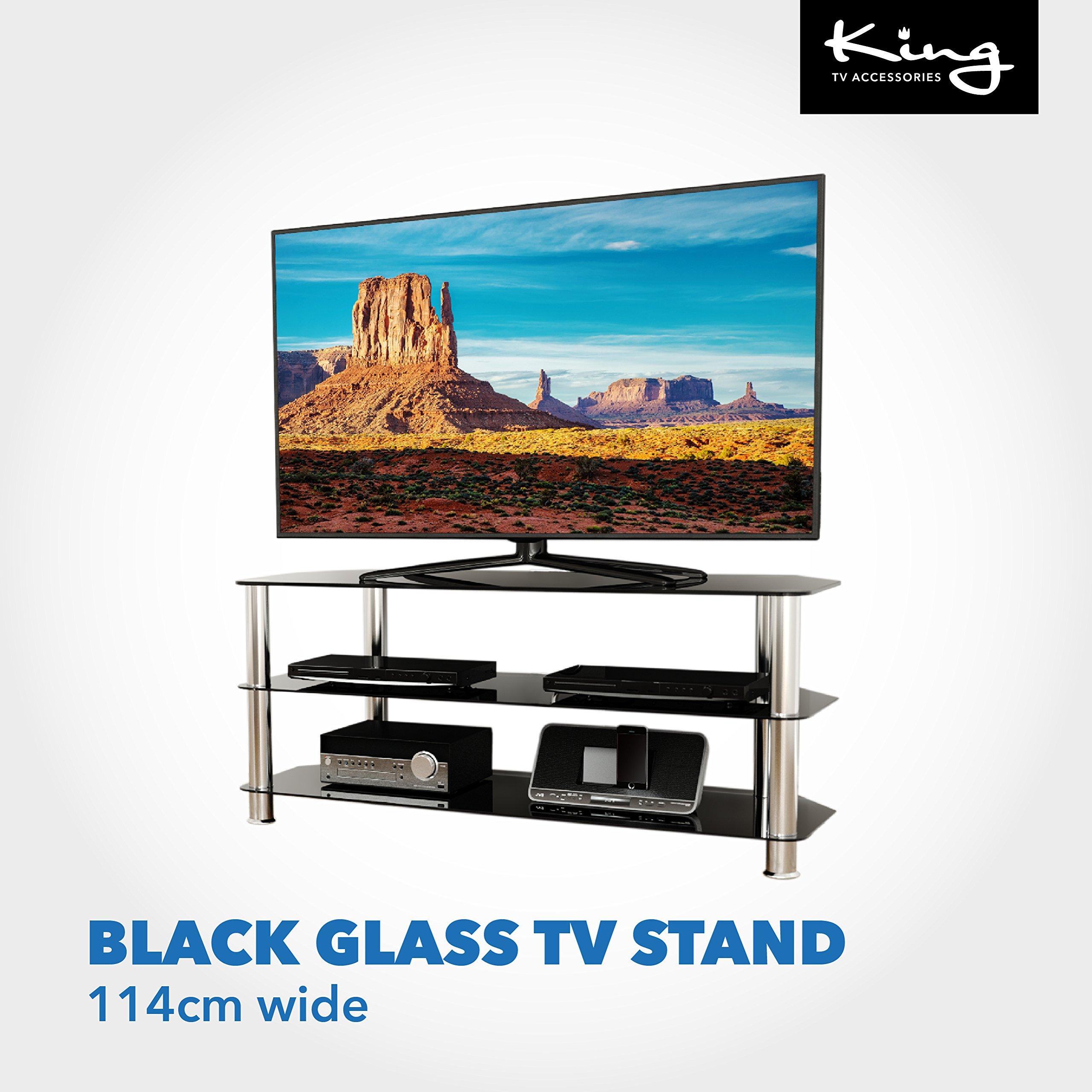 Pequeño mueble de cristal negro brillante para televisores LCD ...