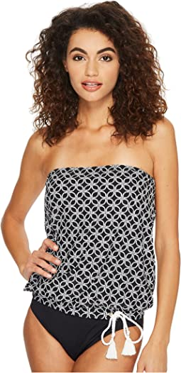 Rope Geo Draped Bandini Top w/ Rope Ties & Removable Soft Cups