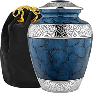 Heavenly Peace Lovely Dark Blue Adult Cremation Urn For Human Ashes - This Beautiful Large Urn is Perfect to Honor Your Lo...