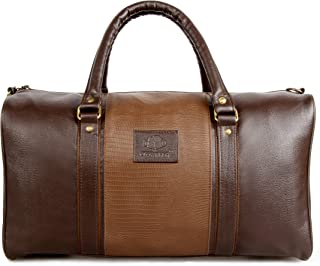 Vegan Leather Duffle Bag for Men and Women Overnight Weekender Duffel Luggage Carry on Bags Traveling Designer Bag Unisex Travel (Brown)
