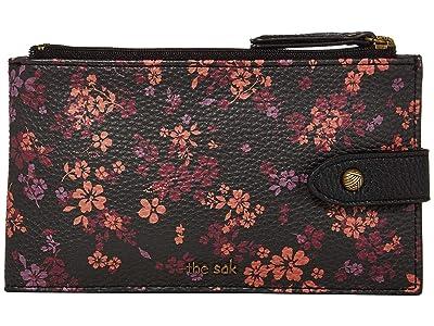 The Sak Silverlake Slim Credit Card Wallet (Black Folk Floral) Wallet Handbags