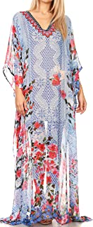 Sakkas Wilder Printed Design Long Sheer Rhinestone Caftan Dress/Cover Up