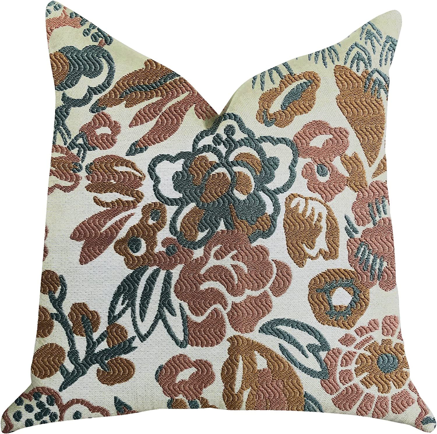 Plutus Brands Floweret Double Sided Luxury Throw Pillow 22 X 22 Green Brown White Home Kitchen