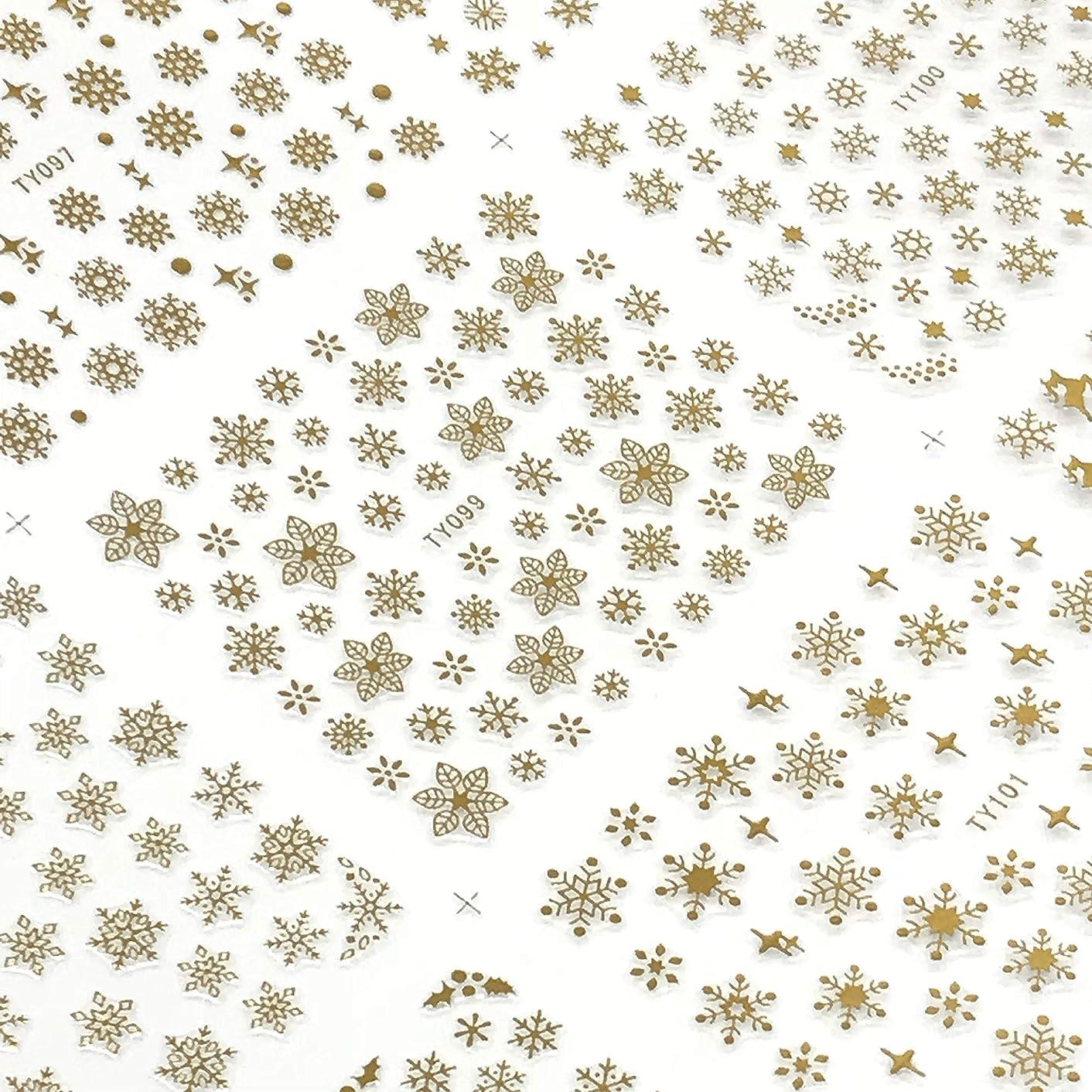ヒロイックアシスト寓話雪の結晶シール 大判BIGビッグサイズ12種大容量ステッカー ネイル用文具貼り紙雪の花華スノー 3色選べる金銀白 冬 (金色 Gold)