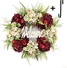 Wreath for Front Door Handmade Hydrangea Wreath,letter wreaths for front door,Fall Wreath,farmhouse door wreaths,Grapevine Wreath,spring summer wreaths for front door,Everyday Wreath (18 inches)