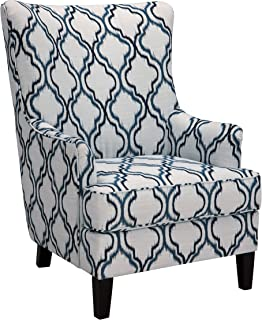 Benchcraft - LaVernia Traditional Style Wingback Accent Chair - Indigo and White