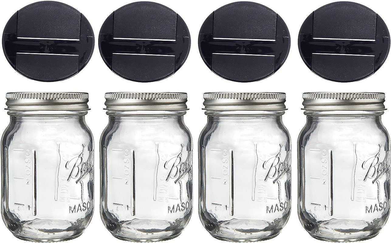 Mini Mason Spice Jar With Dispenser Lid 4oz 4 Black