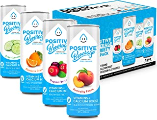 Positive Beverage Naturally Flavored Sparkling Water – 4 Flavor Variety Pack (12oz 12 Pack) Carbonated Seltzer Water with Vitamins & Calcium, Zero Calorie, Gluten Free, No Sugar Added, Caffeine Free