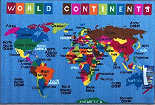 """Play Time 4x6 Kids Area Rug Reversible World Continent Map Learning Carpet Game Room Design 7, (4' x 5'9"""") Feet, Blue"""