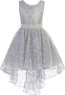 6a896697291 iGirldress High Low Lace Dress Rhinestones Belt Pageant Flower Girl Dress  Size 2-20