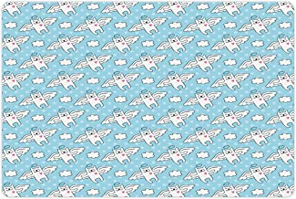 Ambesonne Angel Pet Mat for Food and Water, Cat Angels Flying High Hearts Happiness Kids Nursery Kitty Love Heavenly Wings, Rectangle Non-Slip Rubber Mat for Dogs and Cats, Sky Blue White