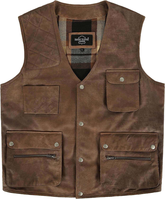 FISHERMAN Leather Waistcoat Brown Buff HUNTERS Multi-Pocket SHOOTER Vest 5657