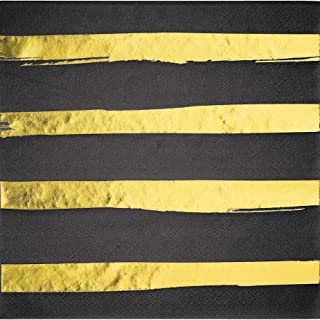 Black and Gold Foil Striped Napkins, 16 Count