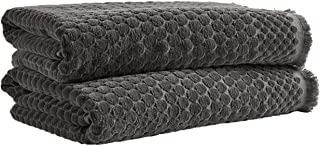 Rivet Contemporary Sculpted Dot Cotton Bath Towels - Pack of 2, 52 x 30 Inch, Charcoal