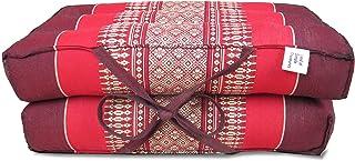 Land of Simple Treasures Foldable Meditation Cushion - Extra Firm Yoga Block Pillow - All Natural Thai Kapok Fiber Filling...