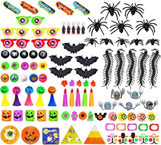 Halloween Party Favors Toys for Kids 100 Pcs - Goody Bag Stuffers, Trick-or-Treat, non-candy Treats, Halloween Prizes For Kids